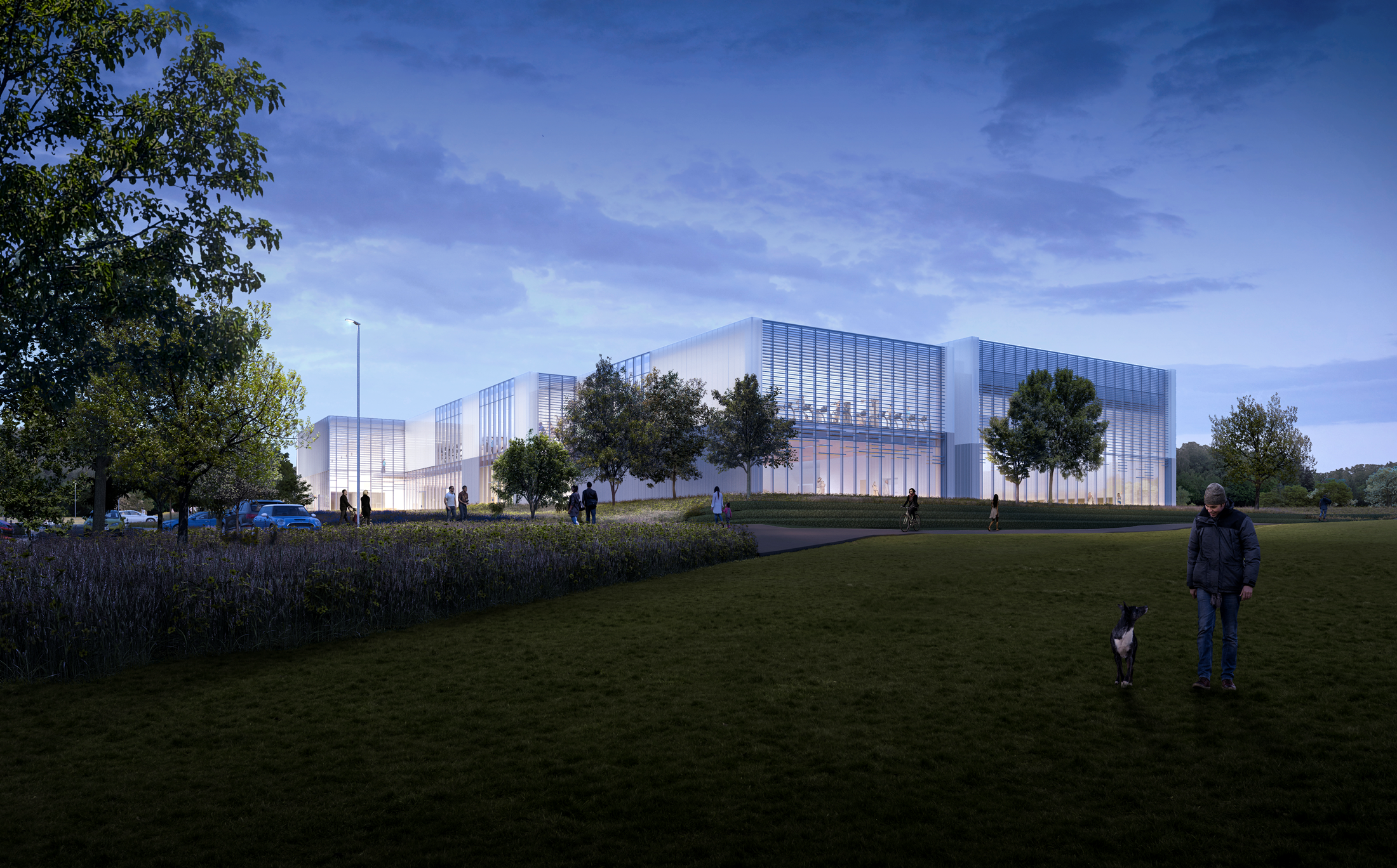 Artist's impression of Winchester Sport & Leisure Park - night view