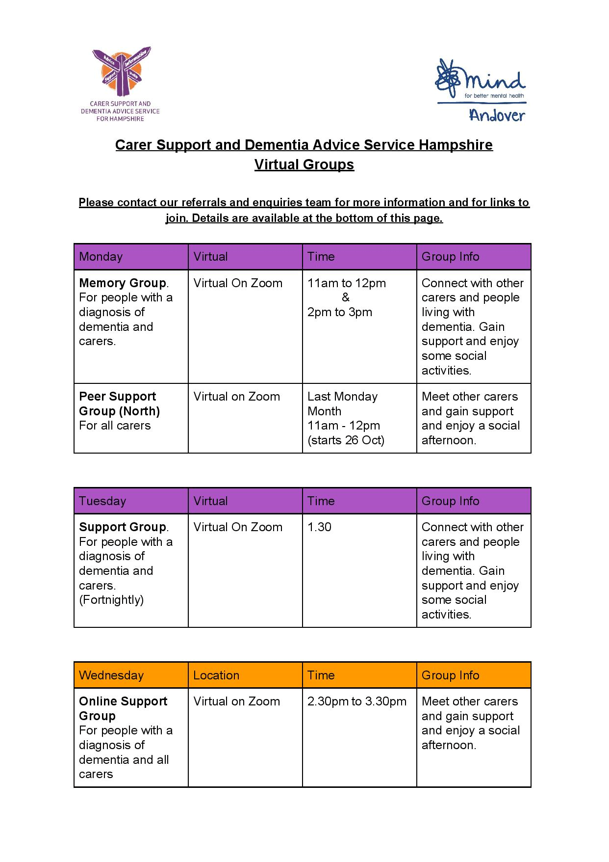 Carer Support and DA Virtual Groups