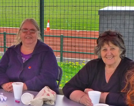 Vice Chair Sue Down with Chair, Monica Gill at our Half Term Football event in 2014
