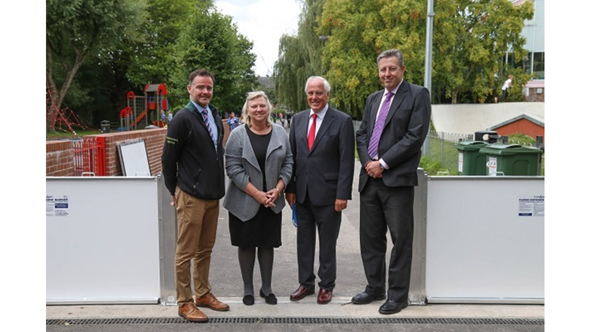 L-R: Flood defence team leader Wesley Jones from the EA, Leader of WCC Caroline Horrill, Leader of HCC Roy Perry, and Kevin Monaghen, Director of Estates & Facilites at the University of Southampton