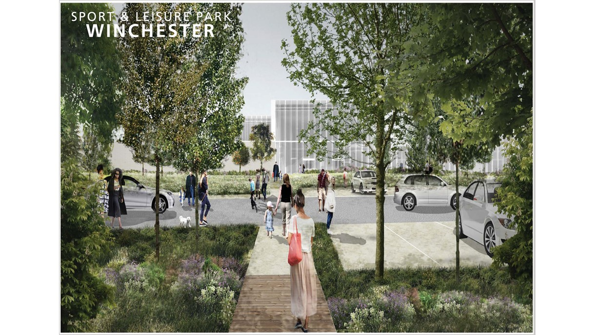 Artist's impression of Winchester Sport & Leisure Park entrance - April 2018