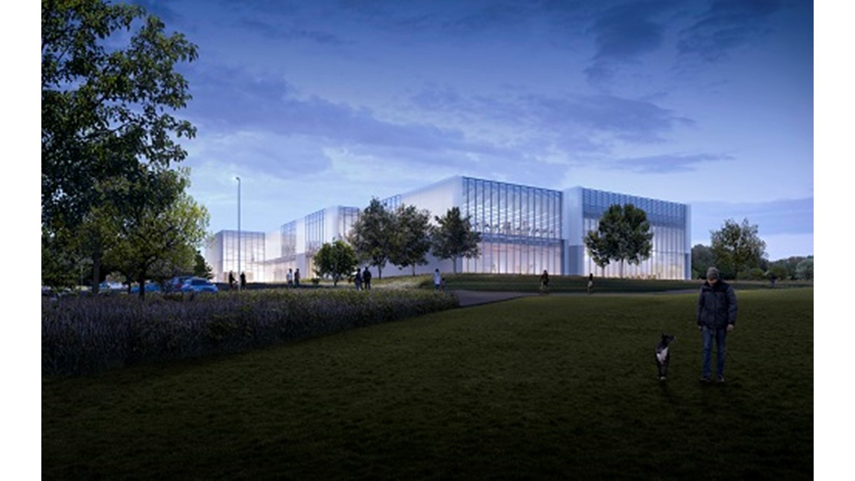Artist's impression of Winchester Sport & Leisure Park - night view from Garrison Ground