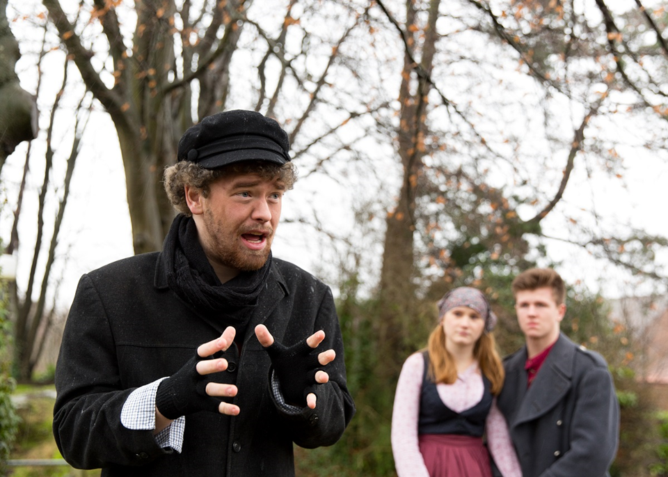 article thumb - l-r Mike Dovey (playing Tevye), Tallulah Jones (playing Chava), Josh Hack (playing Fyedka); by Sam Gavins Photography